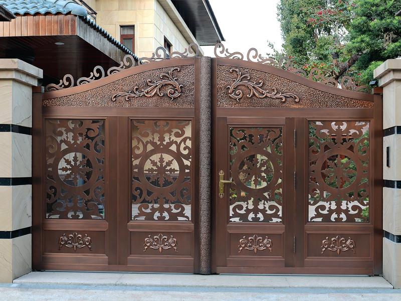 选择别墅铜门门把手的细节
